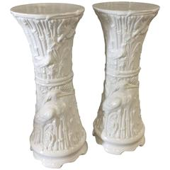 Plant Stands Vintage Pair of White Ceramic Garden Birds Heron White Faux Bamboo