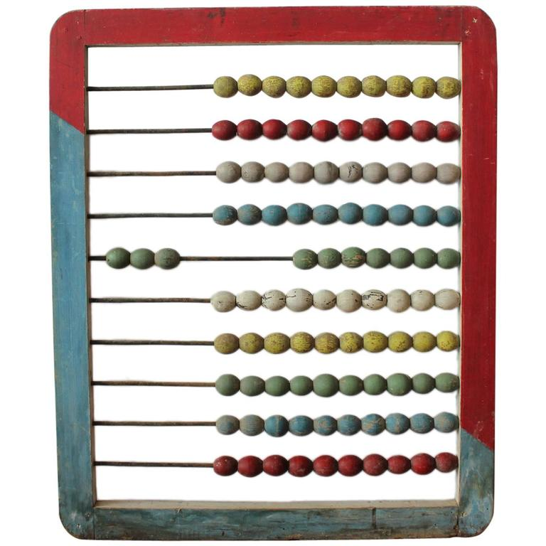 Large 1930s Carnival Hand-Painted Abacus For Sale