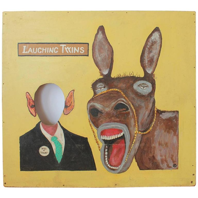 """1950s Hand-Painted Carnival Cutout """"Laughing Twins"""""""