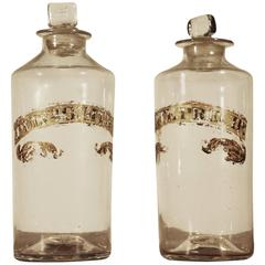 Pair of Early Blown Glass Apothecary Bottles