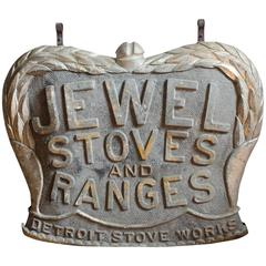 Rare Large 1880s Double Sided Tin Advertising Sign Jewel