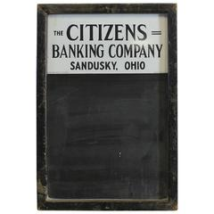 1930s Advertising Chalkboard for the Citizens Banking Company