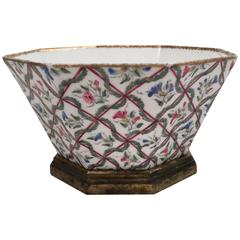 French Louis XVI Style Hand Painted Porcelain Bowl on Stand