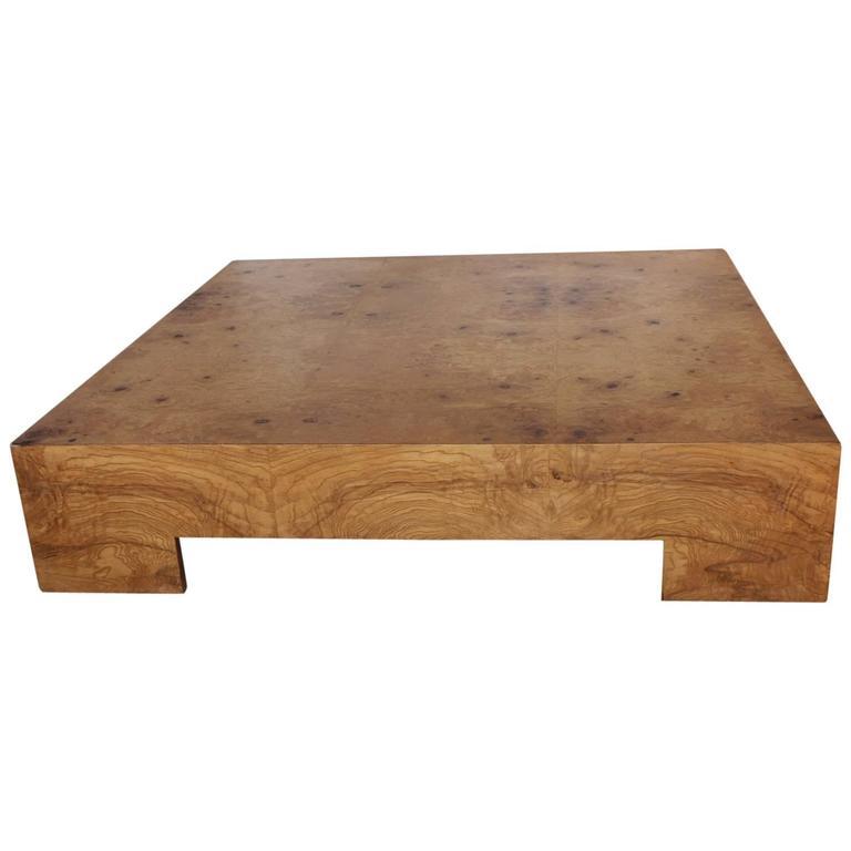 Large Mid Century Burlwood Coffee Table By Milo Baughman At 1stdibs