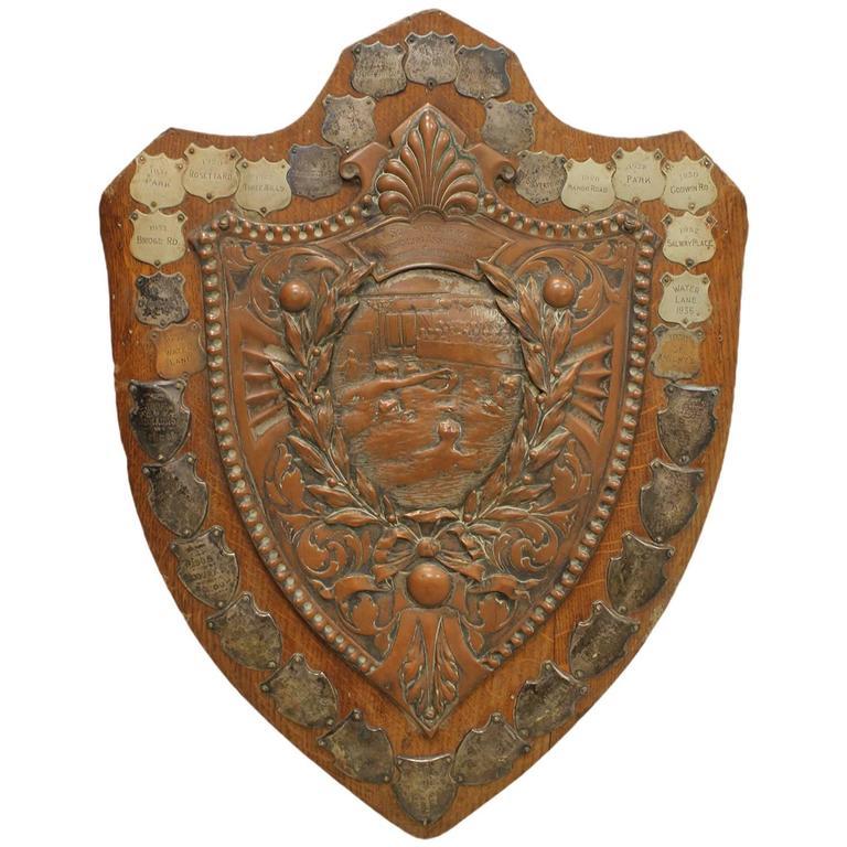Large 1900s English South West Ham Swimming Association Trophy Plaque