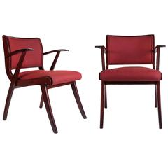 Pair of Tainted Beechwood Armchairs, 1950s
