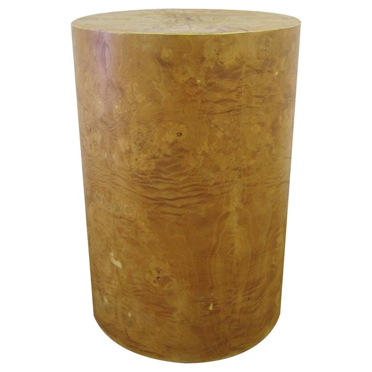 Vintage Modern Round Burl Wood Pedestal Side Table in the Style of Milo Baughman For Sale