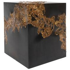 Contemporary Gold Solder Cube Side Table by Orphan Work 2016