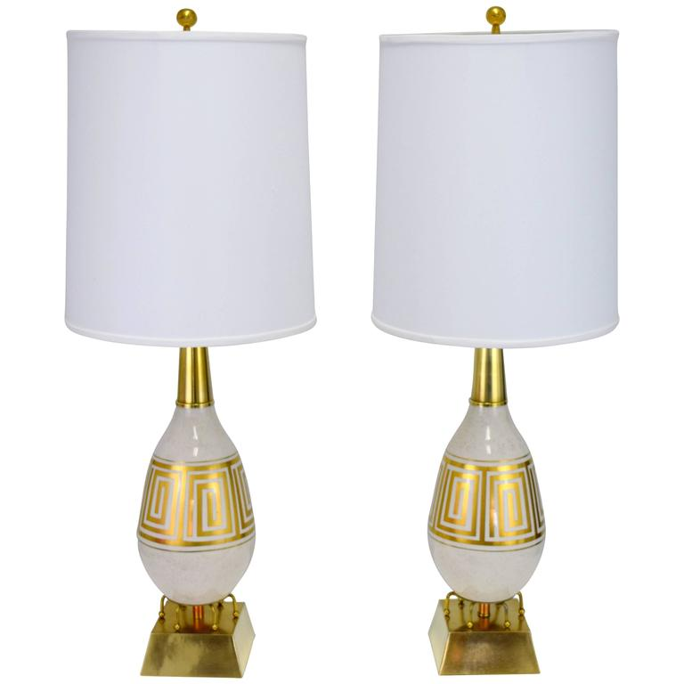 Pair of Hollywood Regency Greek Key Motif Ceramic Table Lamps For Sale