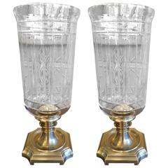 Pair of American Brass and Glass Hurricane Lanterns, circa 1960
