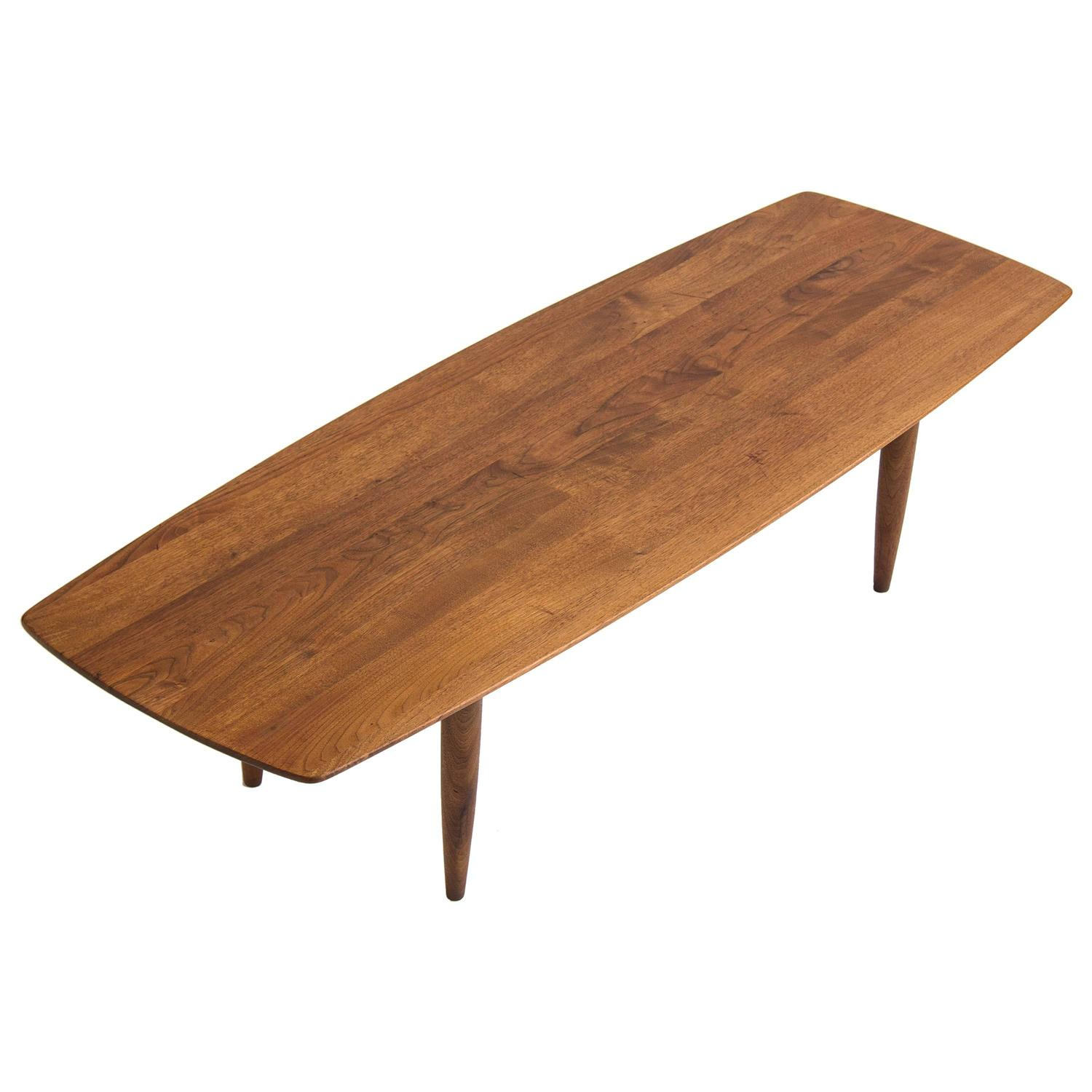 Solid Walnut Surfboard Coffee Table by Prelude at 1stdibs