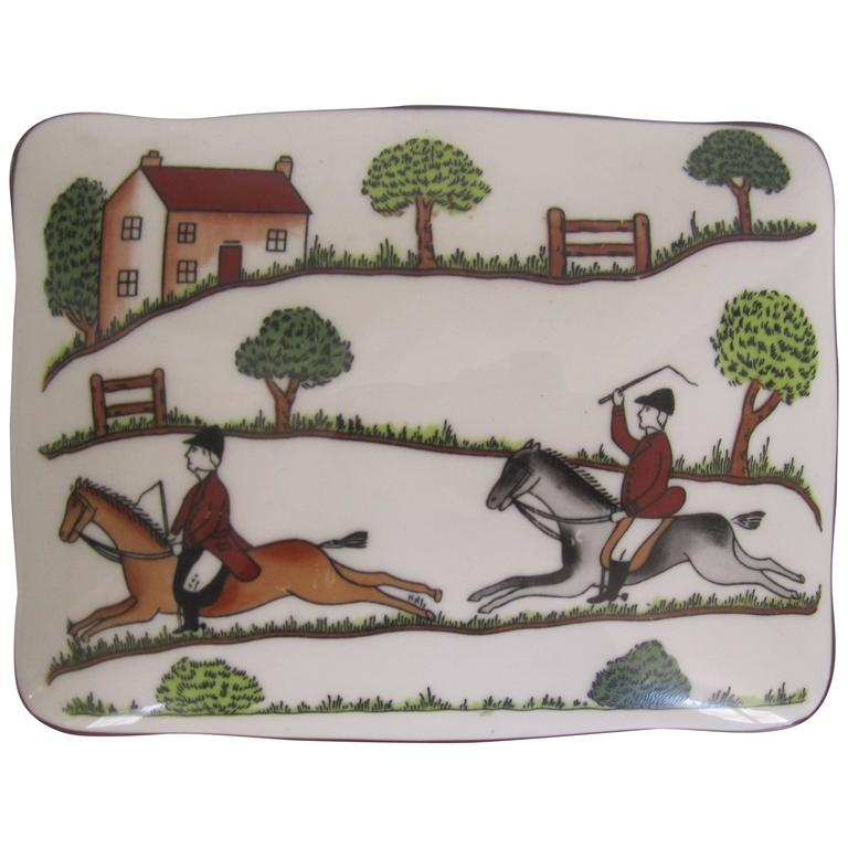 Equestrian Horse Hunting Scene Box in the Style of Hermès For Sale