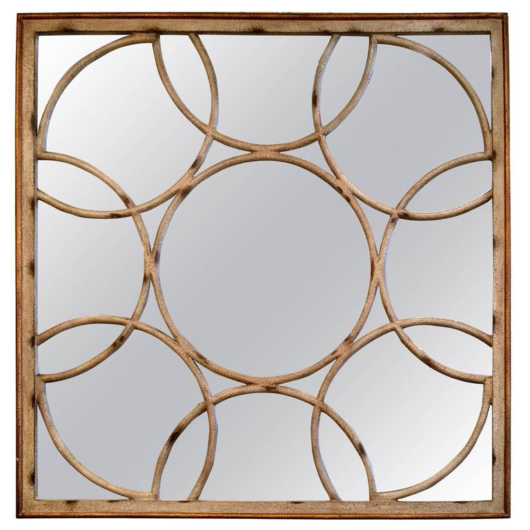 American Faux Bamboo Painted Wooden Mirror, circa 1960