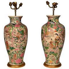 Early 20th Century Pair of Oriental Table Lamps
