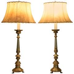Italian Neoclassical Brass Candlesticks as Table Lamps, circa 1840