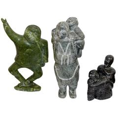 Three Inuit Sculptures One Signed with Inuit Canada Sticker