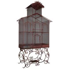 Massive Turn of the 20th Century Painted Iron and Wood Birdcage