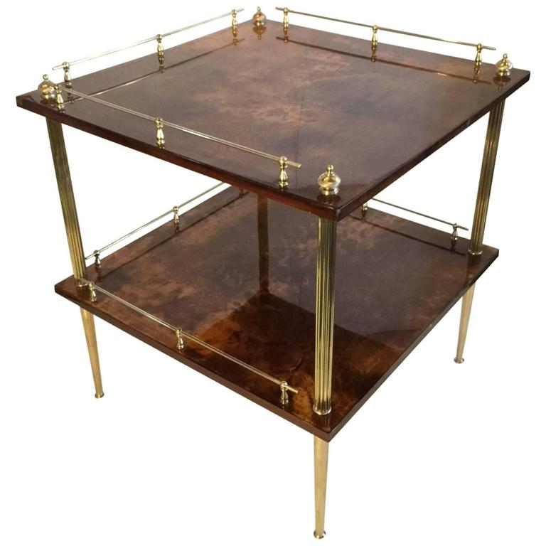 Amber Resine Goatskin and Brass Two-Tiers Side Table by Aldo Tura, Italy For Sale