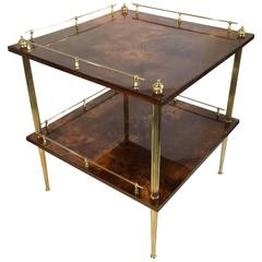 Amber Resine Goatskin and Brass Two-Tiers Side Table by Aldo Tura, Italy