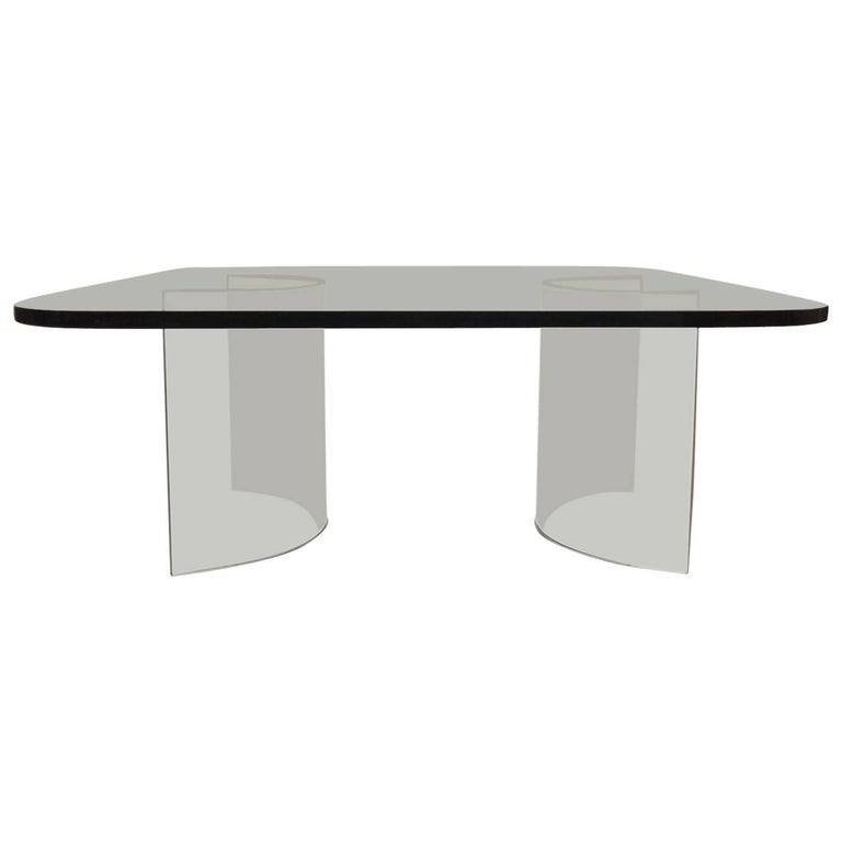 Solid Plate Glass Top Glass Base Coffee Table For Sale