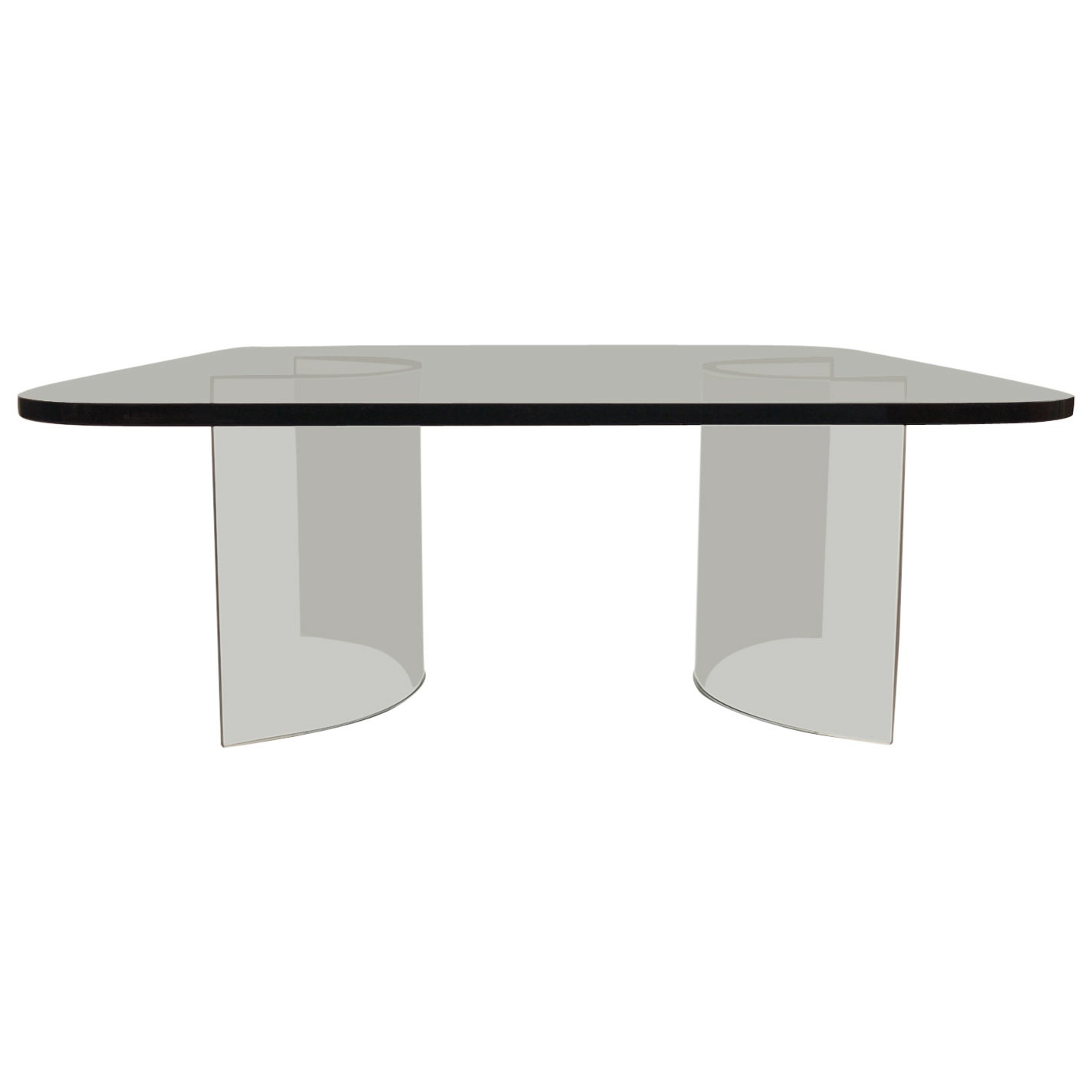 Solid Plate Glass Top Glass Base Coffee Table
