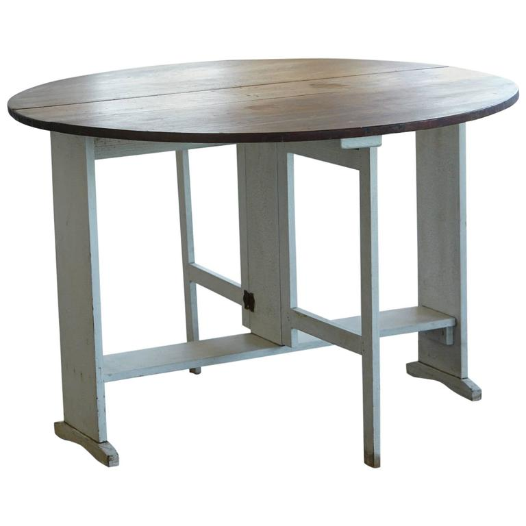 Painted Gate Leg and Drop Leaf Pine Farm Table