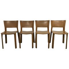 Set of Four Leather Giancarlo Vegni S91 Chairs for Fasem, Italy