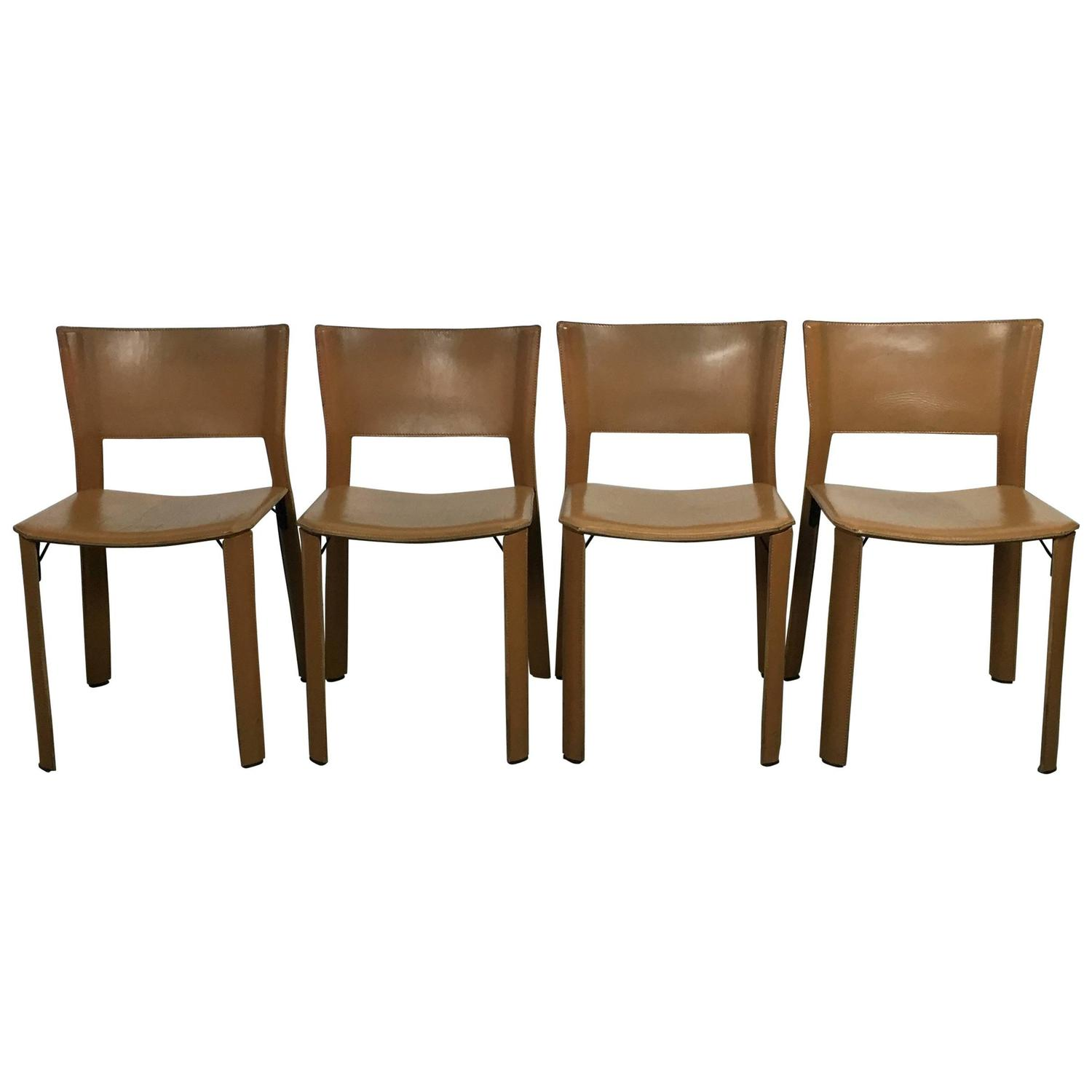 set of contemporary modern italian leather dining chairs by fasem