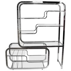 1970s Chrome and Glass Etagere by Milo Baughman