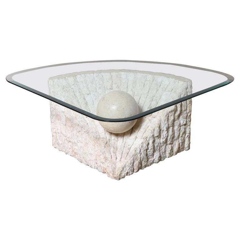 Triangular Marble And Travertine Coffee Table With Beveled Edge Glass Top At 1stdibs