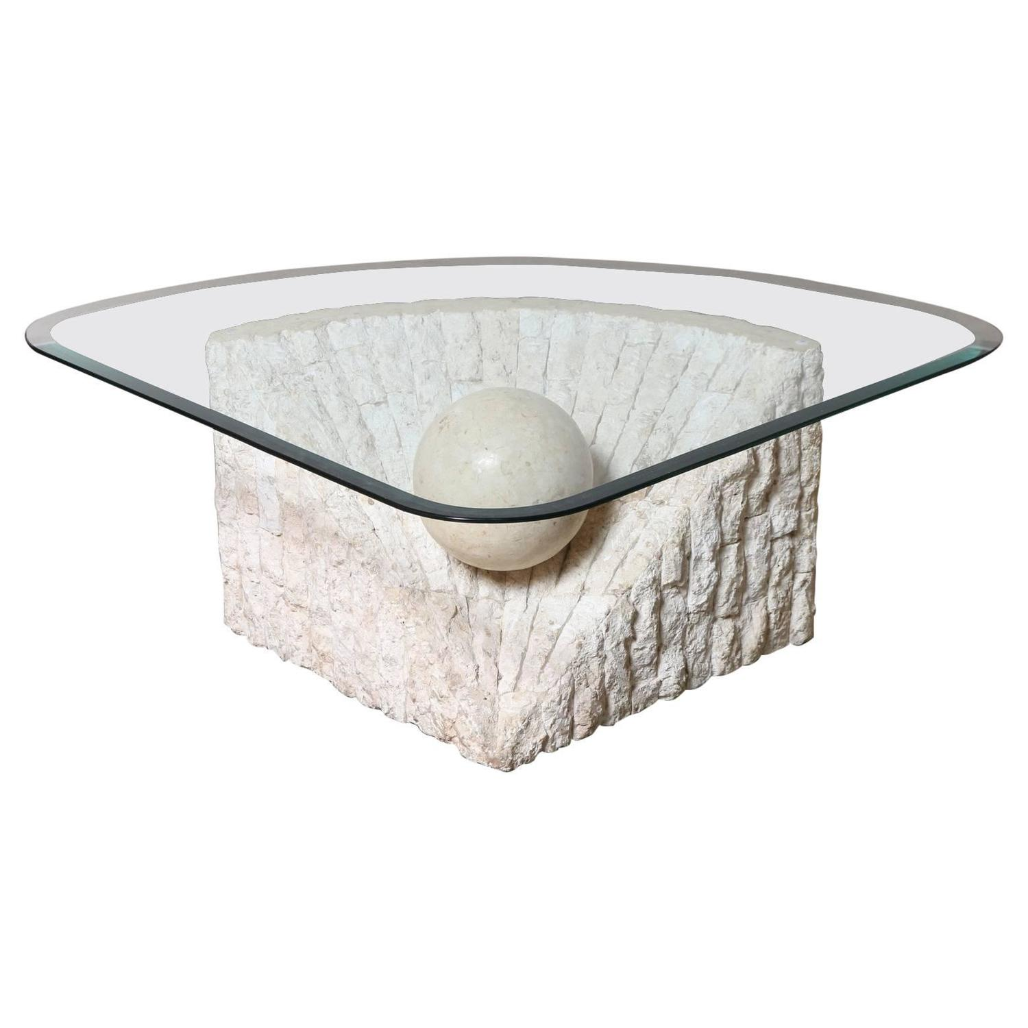 Triangular marble and travertine coffee table with beveled for Coffee tables glass top