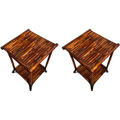 Pair of English Bamboo End Tables, circa 1920