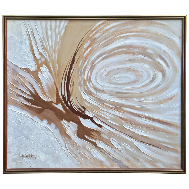 1960s Original Large Abstract Oil on Canvas by Anderson