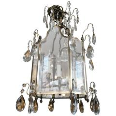 19th Century English Late Regency Crystal, Glass and Brass Lantern