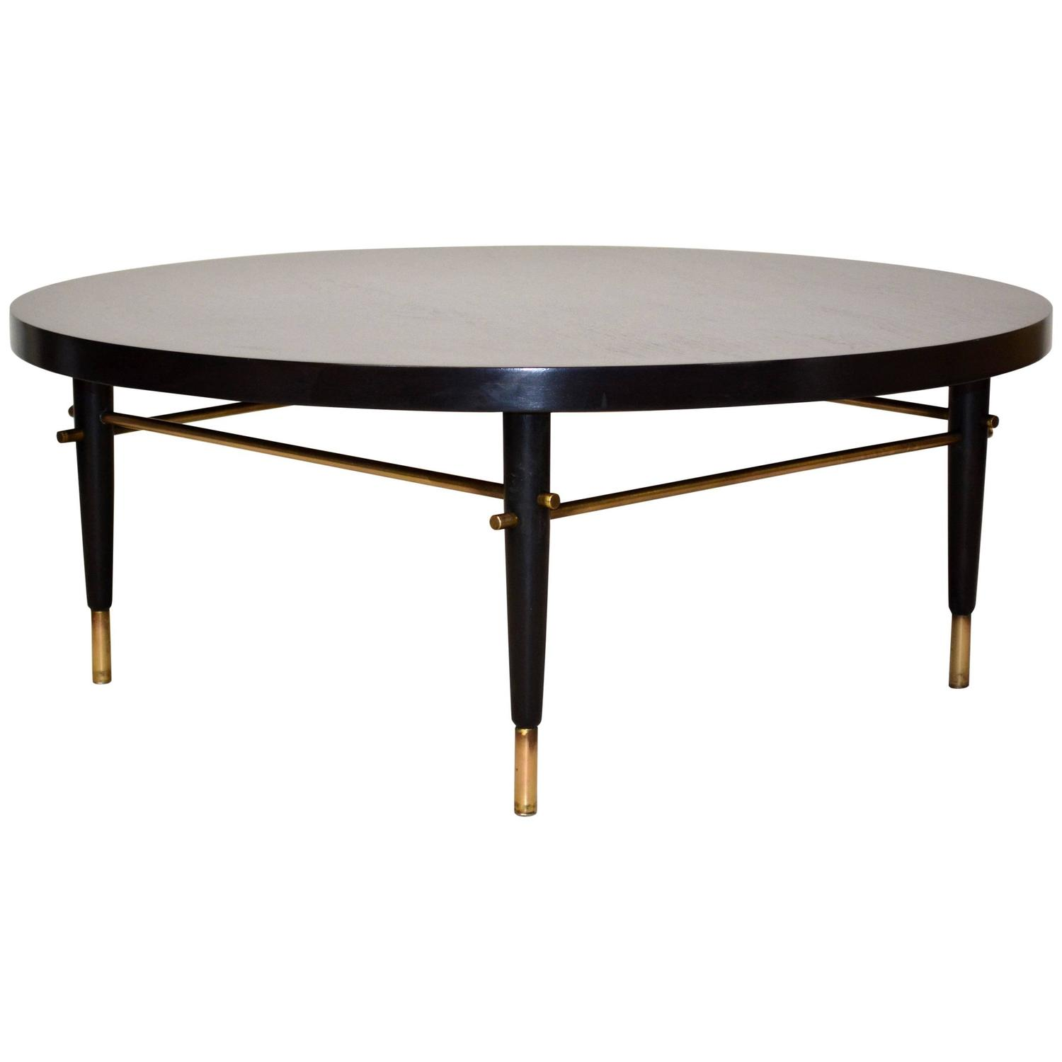 Mid Century Modern Coffee Table With Planter: Mid-Century Modern Ebonized Wood And Brass Cocktail Table