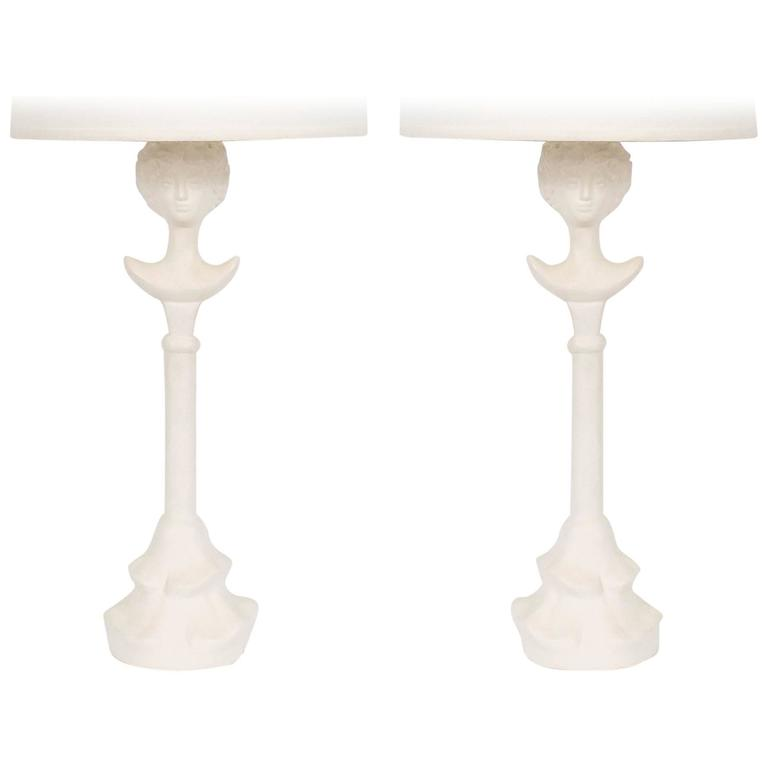 Pair of Figural Plaster Lamps after Giacometti