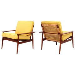 Hans Olsen Teak and Cane Lounge Chairs