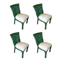 Set of Four American Rattan Style Chairs Painted Green, circa 1960s