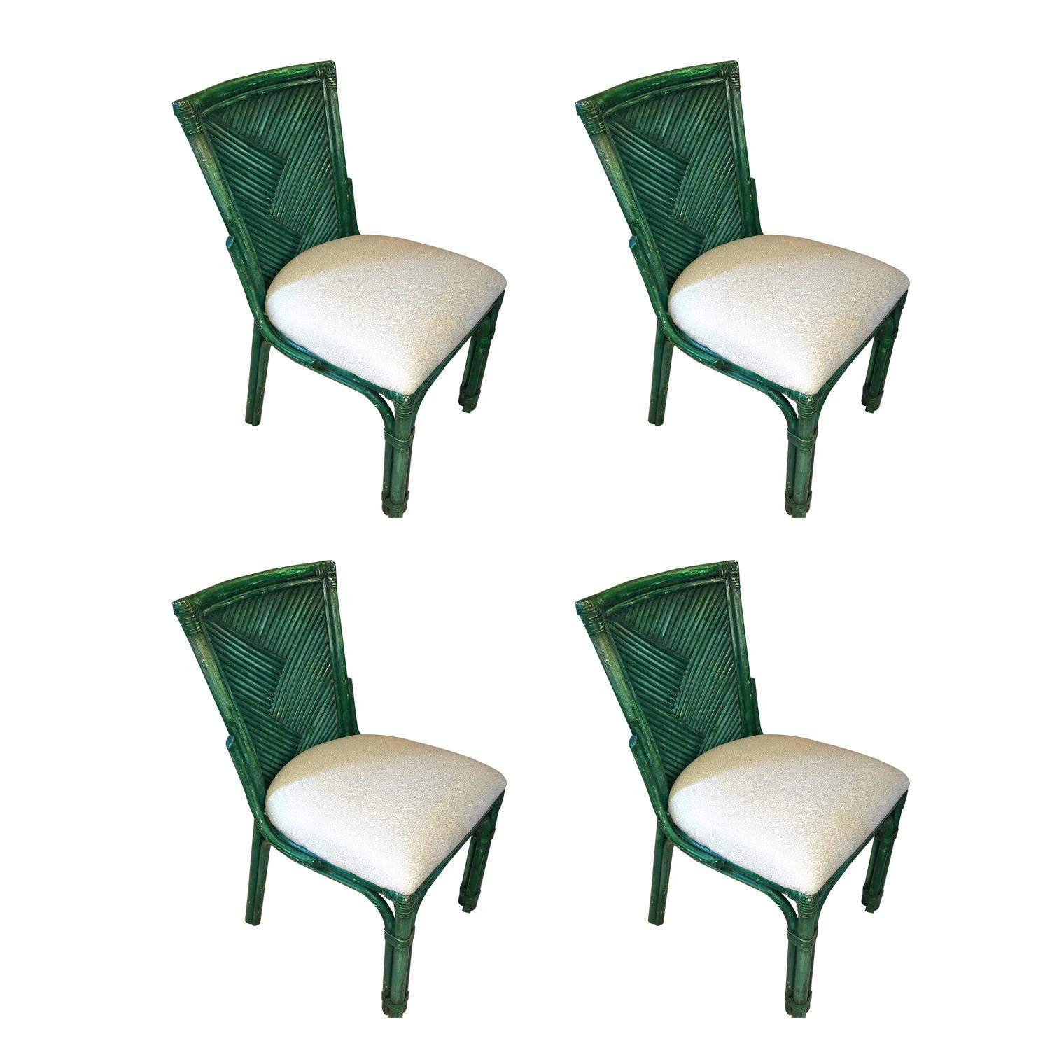 Set Of Four American Rattan Style Chairs Painted Green