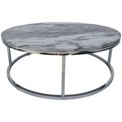 Round Marble Coctail Table after Milo Baughman