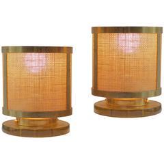 Gilt Brass, 23-Karat Pair of Table Lamps from a Parisian Restaurant, circa 1950