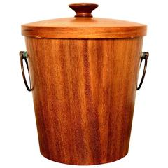 Mexican Modernist Ice Bucket, Mahogany Wood Mid-Century Period