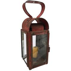 Small Early Candle Lantern in Old Red Paint