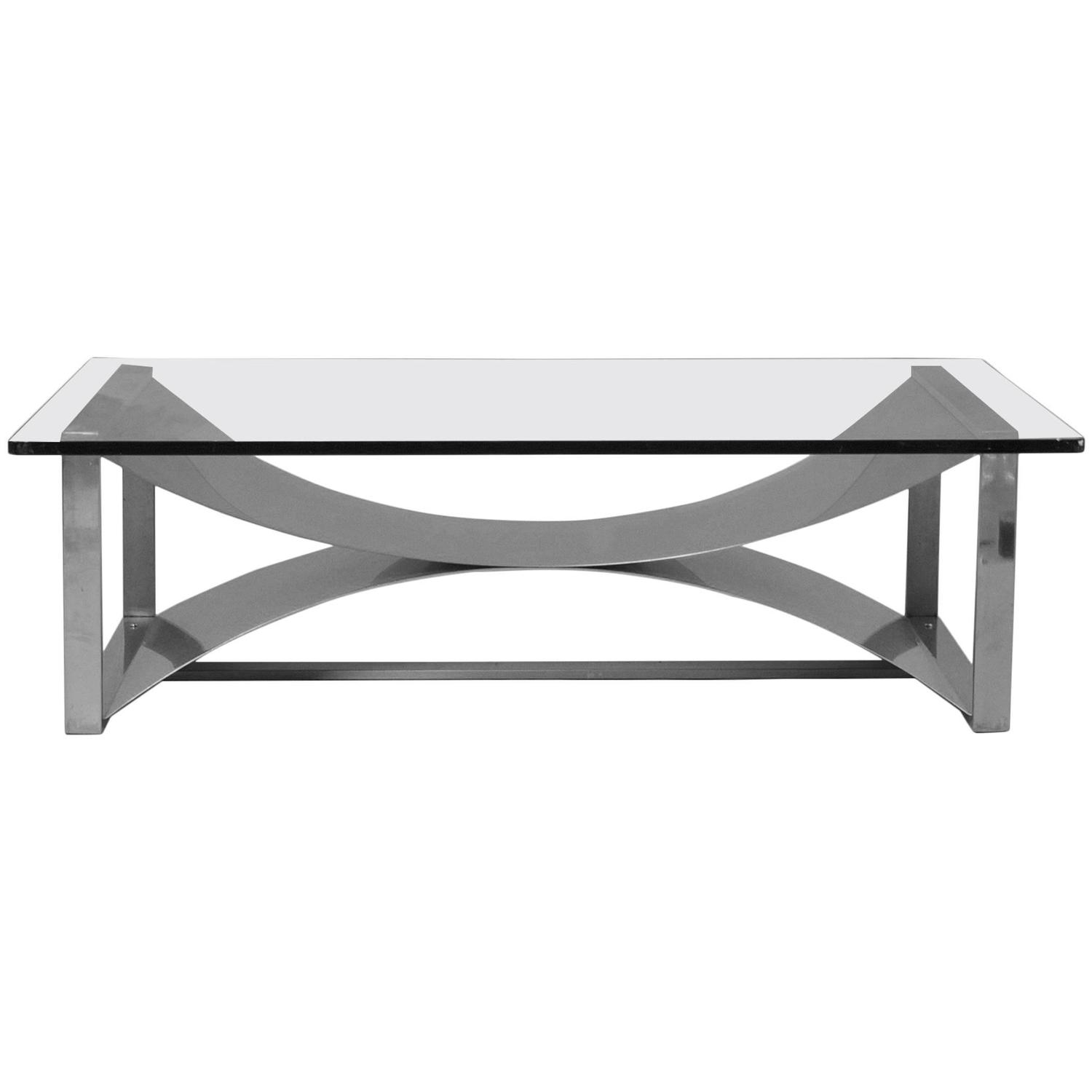 1970s Rectangular Glass And Polished Steel Coffee Table At 1stdibs