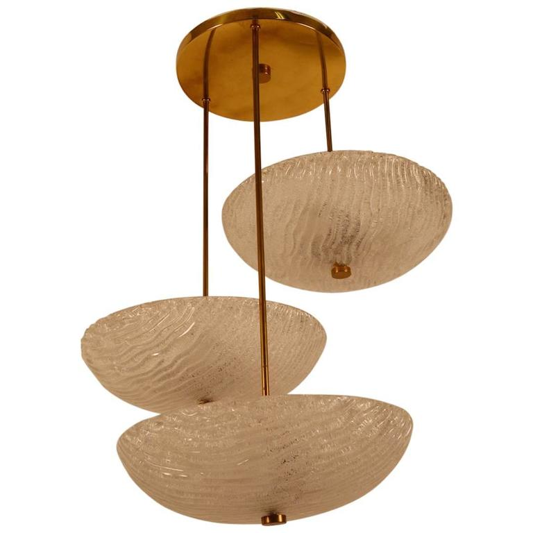 Three Shade Chandelier by Carl Fagerlund For Sale
