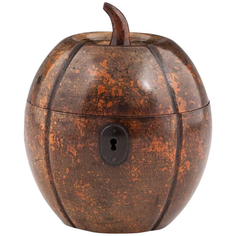 Antique Melon Fruitwood Tea Caddy For Sale