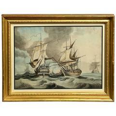 18th Century Marine Watercolor Painting