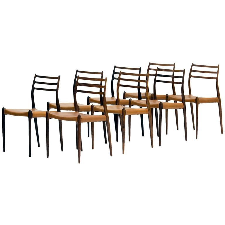 Set of Eight Model 78 Rosewood Chairs by Niels O. Møller, Designed 1962 For Sale
