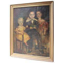 Large Provincial Naïve School Oil on Canvas Portrait, circa 1830