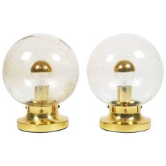 Pair of Handblown Glass and Brass Table Lamps by Limburg